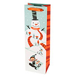 True Brands 2887 Wine Tote Bag w/ Orange Ribbon Handles, Snowman Design, Paper