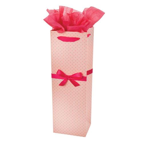 True Brands 3102 Wine Tote Bag w/ Pink Ribbon Handles, Pink w/ Polka Dots, Paper