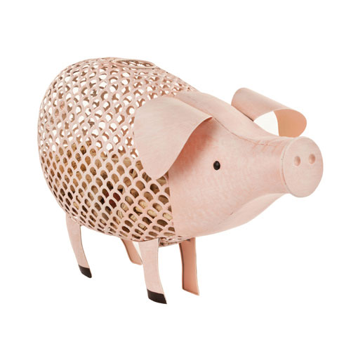True Brands 3168 Pig Cork Holder - Holds 120 Corks, Distressed Metal Finish