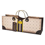 True Brands 3182 Wine Purse w/ Gold Metal Handles, Mocha Patterned, Paper