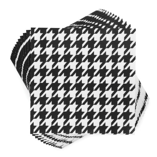 "True Brands 3218 Cocktail Napkins - Black & White Houndstooth Pattern, 5"" x 5"", 3-ply"