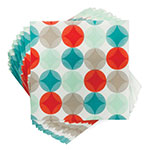 "True Brands 3226 Cocktail Napkins - Cheery Circles Pattern, 5"" x 5"", 3-ply"