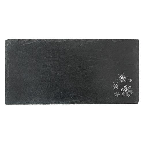 True Brands 3293 Slate Cheese Board w/ Snowflake Print