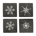 True Brands 3296 Coaster Set - Slate w/ Snowflake Print