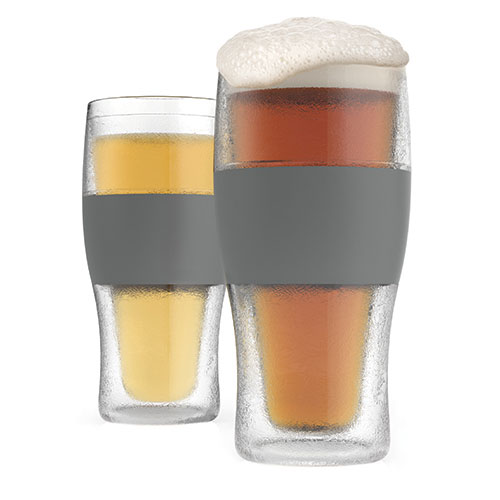 True Brands 3309 16-oz Cooling Pint Glasses w/ Rubber Grip, Plastic
