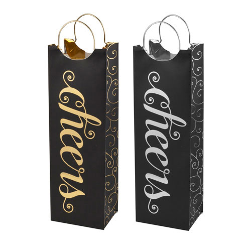 "True Brands 3473 Wine Tote Bag w/ Metal Handles, ""Cheers"" Pattern, Paper"