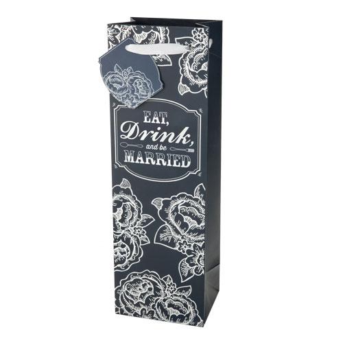 True Brands 3890 Wine Tote Bag w/ White Ribbon Handles, N...