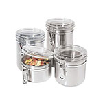 Oggi 5369 Storage Canister Set w/ Clamp Top Lids - 26, 42, 52, & 60-oz, Stainless
