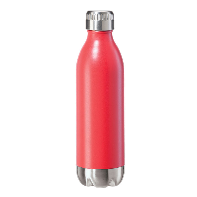 Oggi 8081.2 17-oz Sports Bottle w/ Twist-on Cap, Stainless, Red