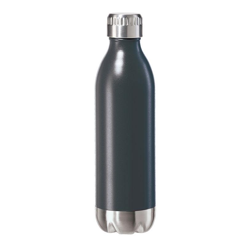 Oggi 8081.3 17-oz Sports Bottle w/ Twist-on Cap, Stainless, Black