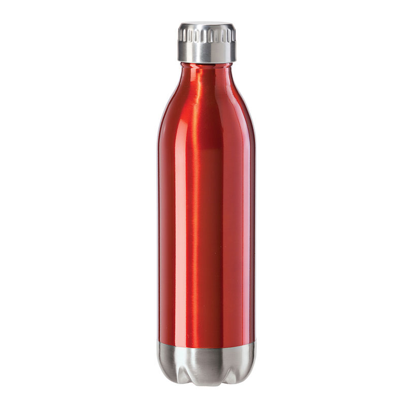 Oggi 8085.2 17-oz Sports Bottle w/ Twist-on Cap, Stainless, Red