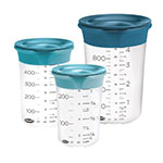 Chef'n 102-918-268 3-Piece SleekStor® Pinch + Pour Measuring Beaker Set w/ Lids, Silicone