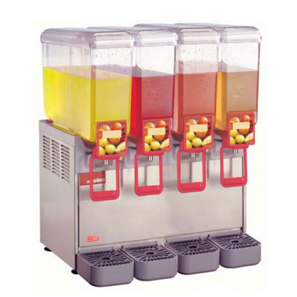 "Crathco 8/4 21.25"" Compact Cold Beverage Dispenser w/ (4) 2.2-gal Bowls, 120v"