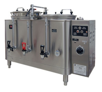 Grindmaster 74410E Twin Coffee Urn w/ 10-gal/Liner Capacity, Automatic, Fresh Water Heat Exchange, 208-240v/1ph
