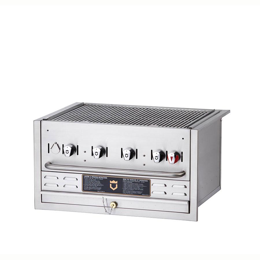 "Crown Verity BI-30 30"" Built-In Gas Commercial Outdoor Grill w/ Water Pan, LP"
