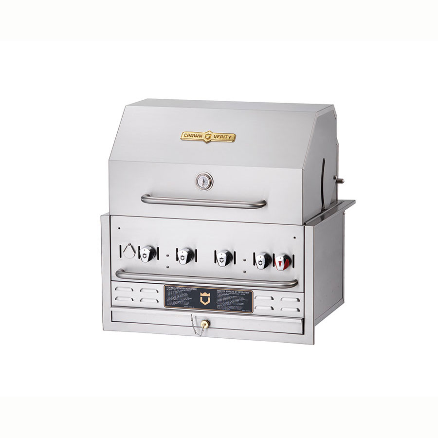 Crown Verity BI-30PKG 4-Burner Built-In Gas Grill w/ Roll Dome - Stainless Steel Grates, LP
