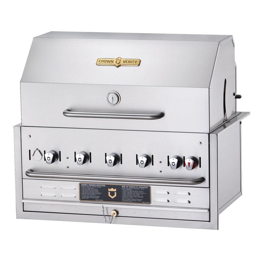 Crown Verity BI-36PKG 5-Burner Built-In Gas Grill w/ Roll Dome - Stainless Steel Grates, LP