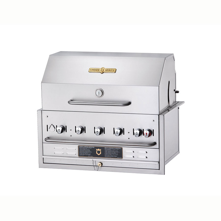 "Crown Verity BI-36PKG 36"" Built-In Gas Commercial Outdoor Grill w/ Water Pan, NG"