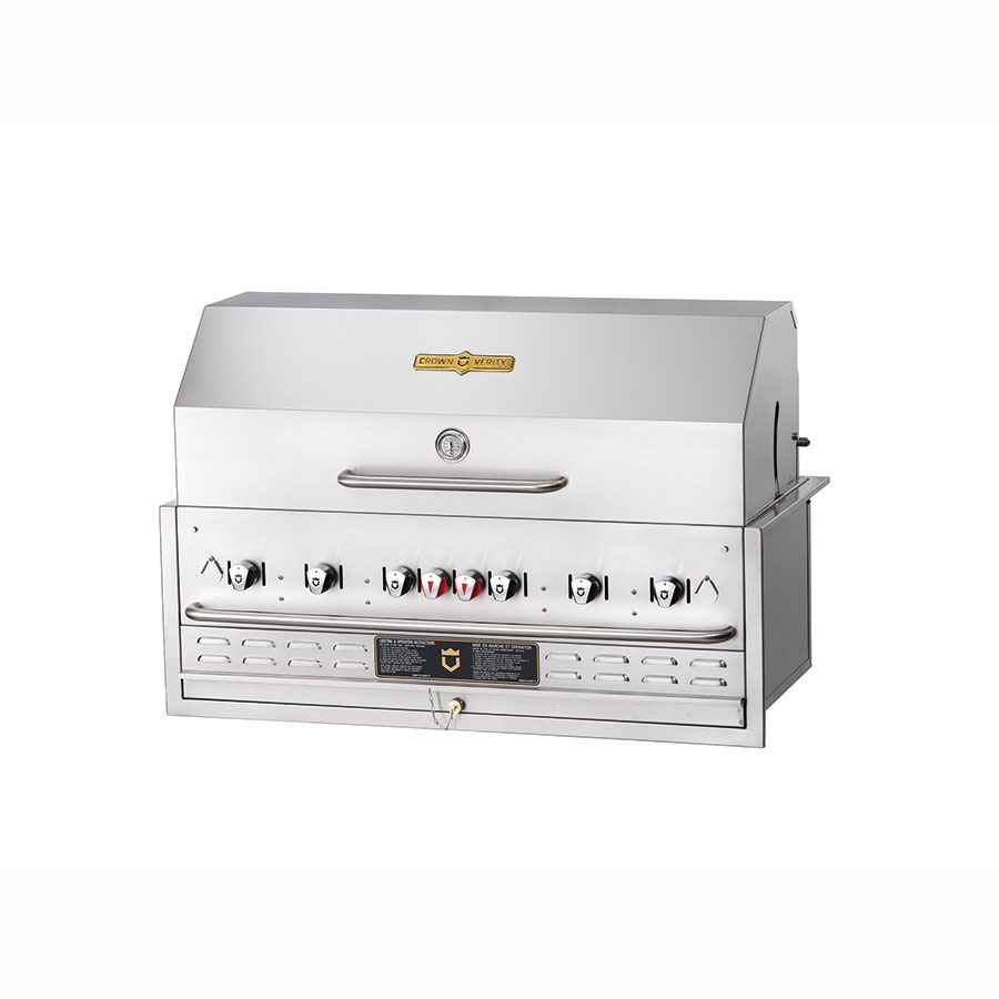 Crown Verity BI-48PKG 6-Burner Built-In Gas Grill w/ Roll Dome - Stainless Steel Grates, LP