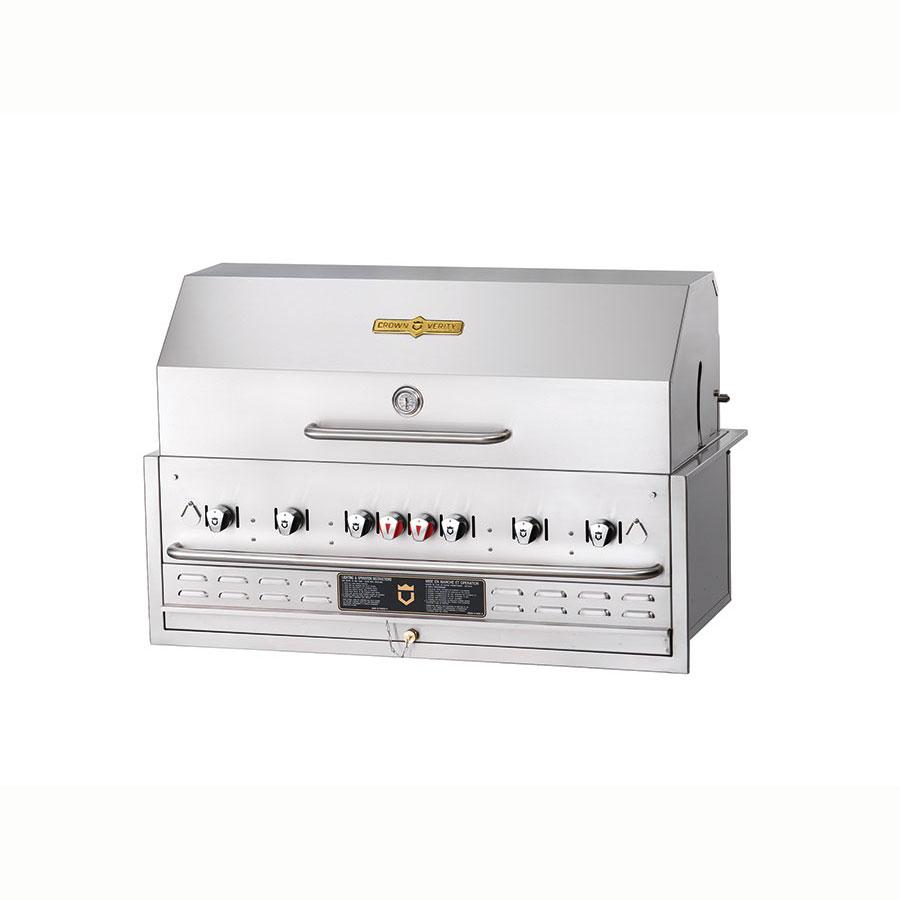 "Crown Verity BI-48PKG 46"" Built-In Gas Commercial Outdoor Grill w/ Water Pan, LP"