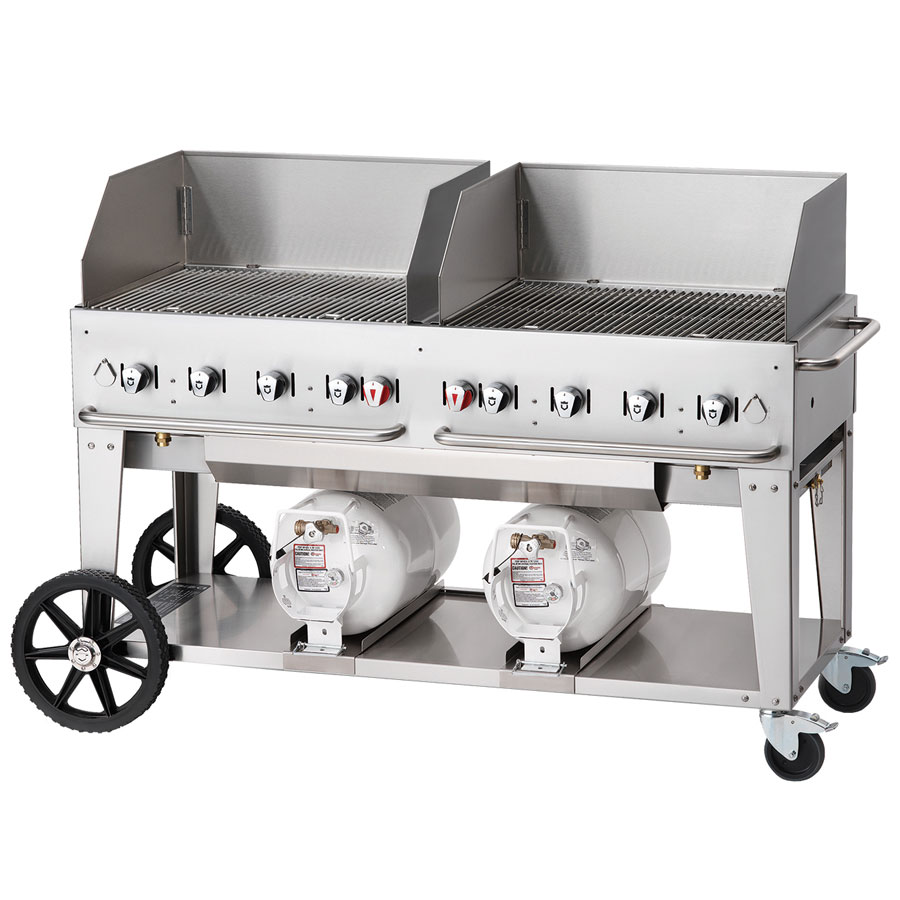"Crown Verity CCB-60WGP 58"" Mobile Gas Commercial Outdoor Grill w/ Gas Tank Support, LP"