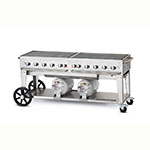 "Crown Verity CCB-72-LP 72"" Mobile Gas Commercial Outdoor Grill w/ Gas Tank Support, LP"