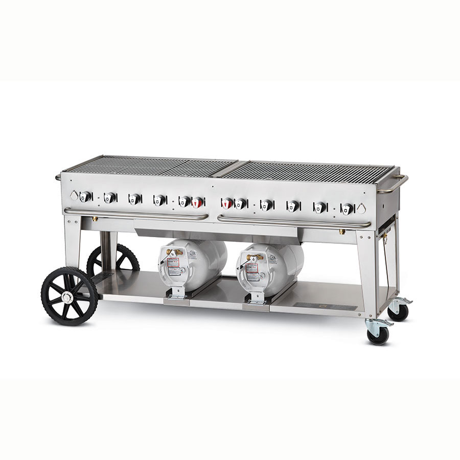 "Crown Verity CCB-72-LP 70"" Mobile Gas Commercial Outdoor Grill w/ Gas Tank Support, LP"