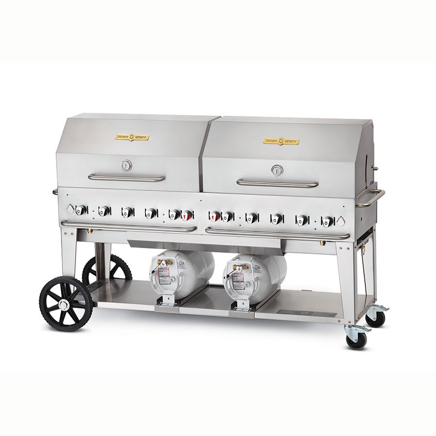 "Crown Verity CCB-72RDP 70"" Mobile Gas Commercial Outdoor Grill w/ Gas Tank Support, LP"