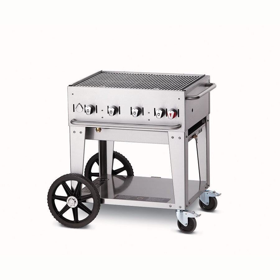 "Crown Verity MCB-30NG 38"" Mobile Gas Commercial Outdoor Charbroiler w/ Water Pan, NG"
