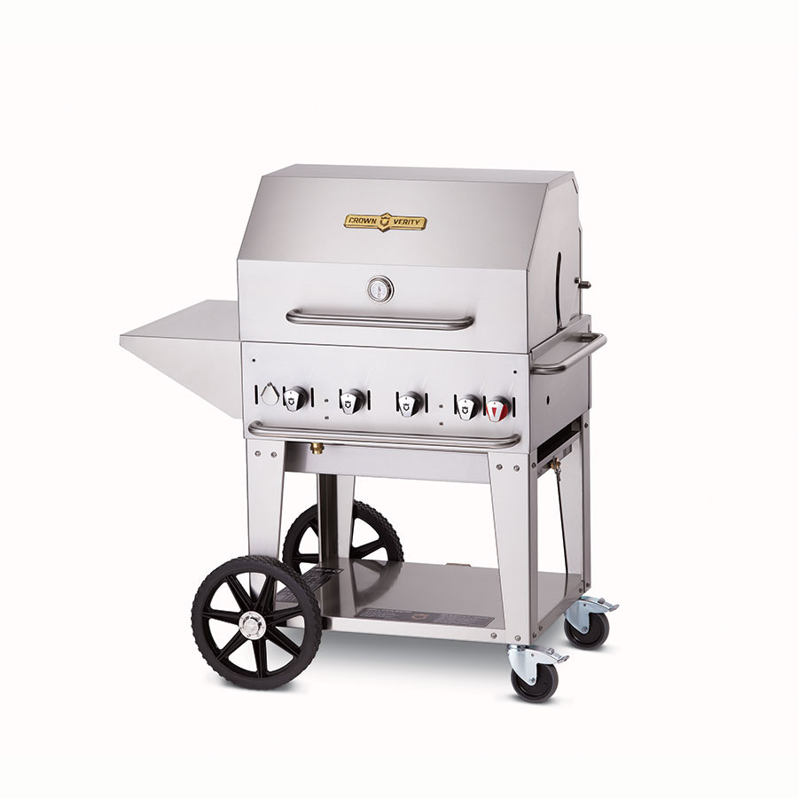 "Crown Verity MCB-30PKG-LP 30"" Mobile Gas Commercial Outdoor Charbroiler w/ Water Pan, LP"