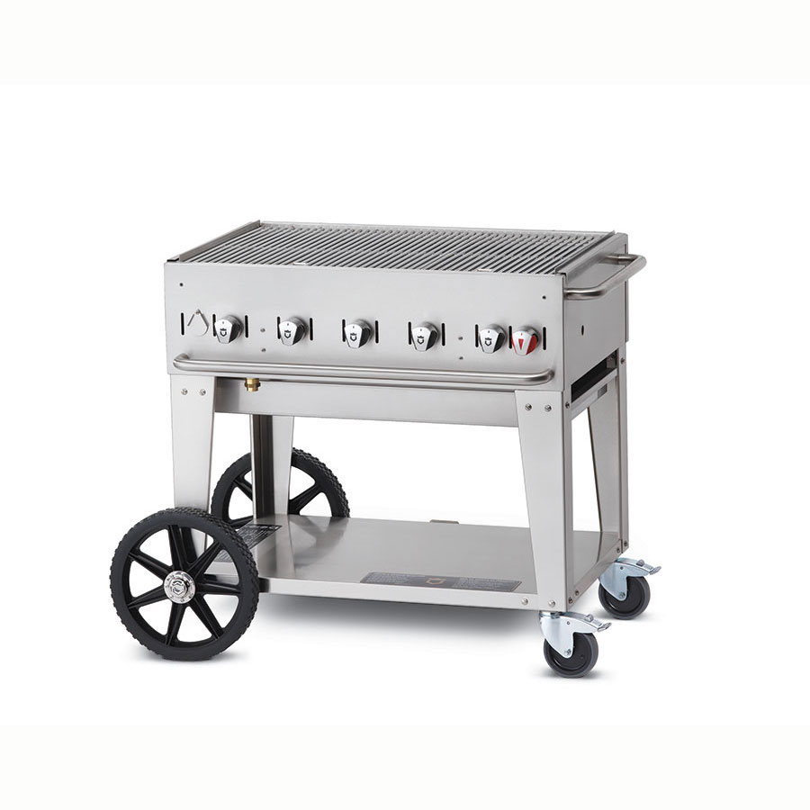 "Crown Verity MCB-36NG 36"" Mobile Gas Commercial Outdoor Charbroiler w/ Water Pan, NG"