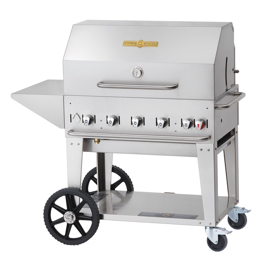 "Crown Verity MCB-36PKG-NG 34"" Mobile Gas Commercial Outdoor Charbroiler w/ Water Pan, NG"