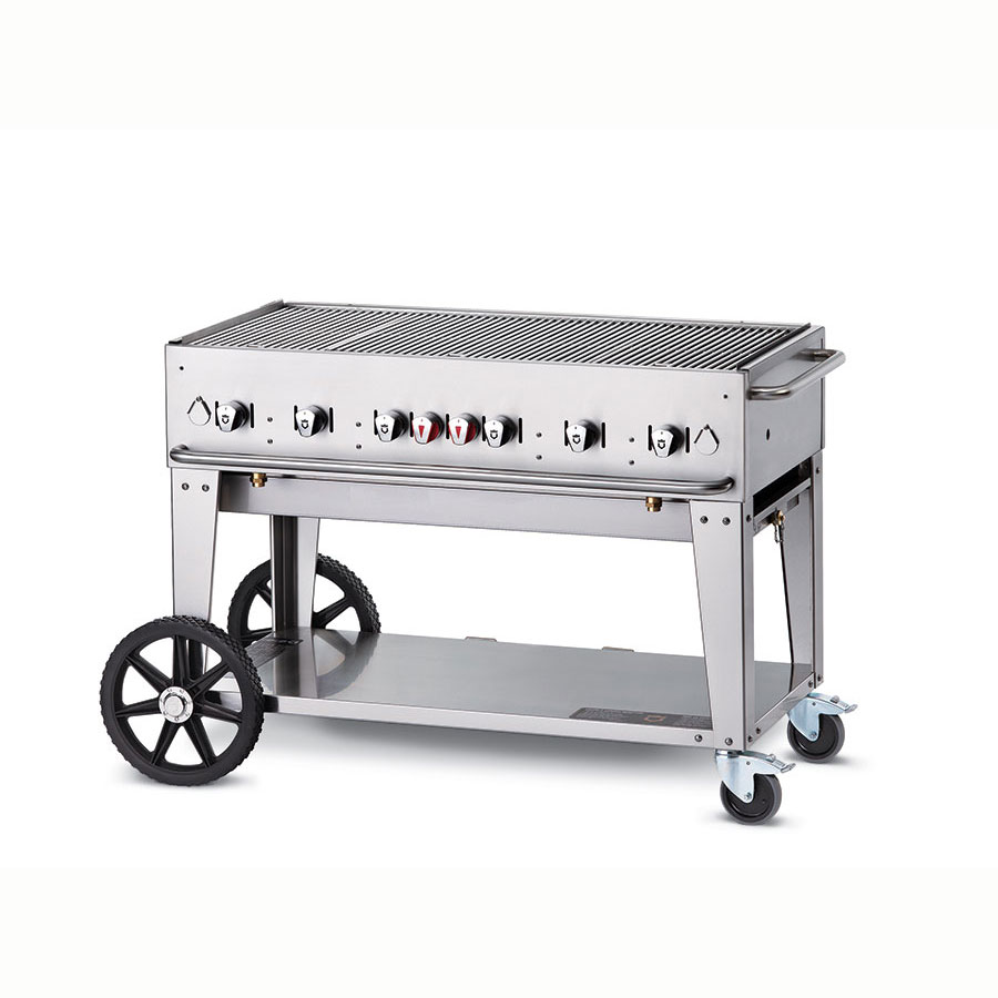 "Crown Verity MCB-48NG 46"" Mobile Gas Commercial Outdoor Charbroiler w/ Water Pan, NG"