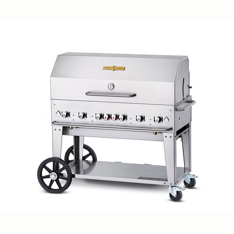 "Crown Verity MCB-48RDP-LP 48"" Mobile Gas Commercial Outdoor Charbroiler w/ Water Pan, LP"