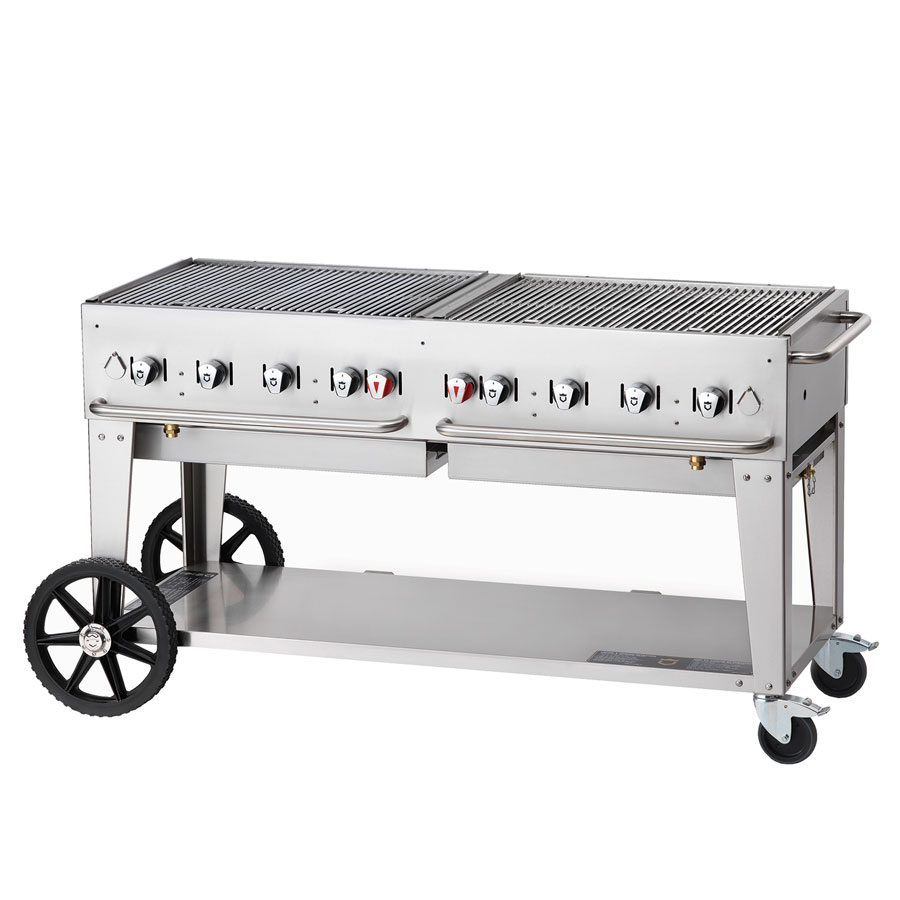 "Crown Verity MCB-60LP 58"" Mobile Gas Commercial Outdoor Charbroiler w/ Water Pan, LP"