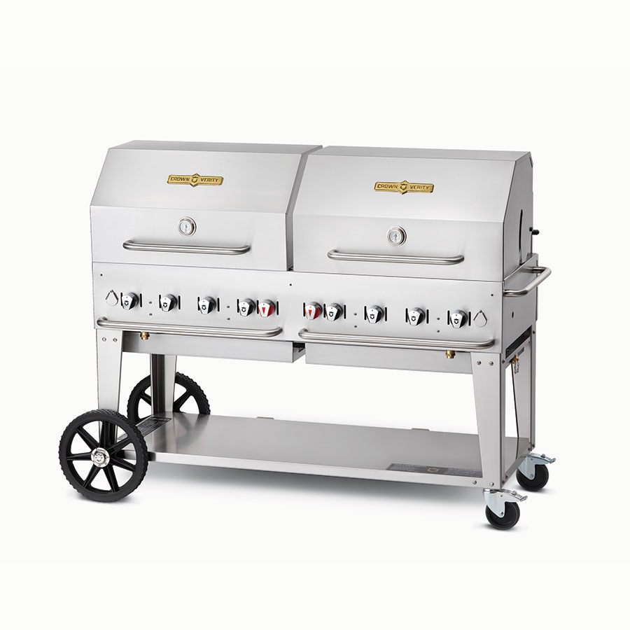 "Crown Verity MCB-60RDP-LP 58"" Outdoor Gas Charbroiler w/ Roll Dome - (8) Burners, Stainless, LP"