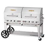"Crown Verity MCB-60RDP-NG 58"" Outdoor Gas Charbroiler w/ Roll Dome - (8) Burners, Stainless, NG"