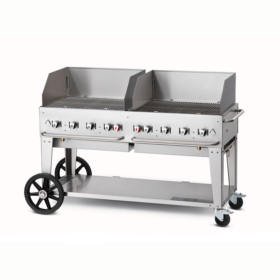 "Crown Verity MCB-60WGP-NG 58"" Mobile Gas Commercial Outdoor Charbroiler w/ Water Pan, NG"