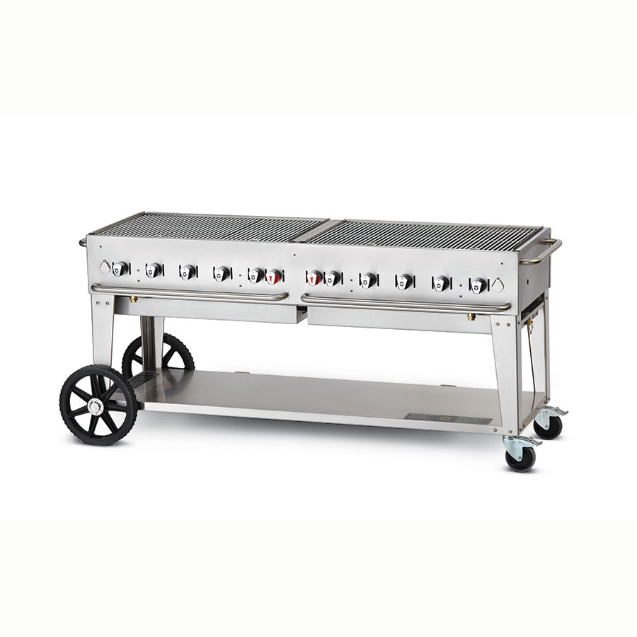 "Crown Verity MCB-72NG 70"" Mobile Gas Commercial Outdoor Charbroiler w/ Water Pan, NG"