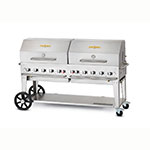 "Crown Verity MCB-72RDP-LP 72"" Mobile Gas Commercial Outdoor Charbroiler w/ Water Pan, LP"