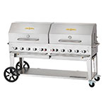 "Crown Verity MCB-72RDP-NG 72"" Mobile Gas Commercial Outdoor Charbroiler w/ Water Pan, NG"