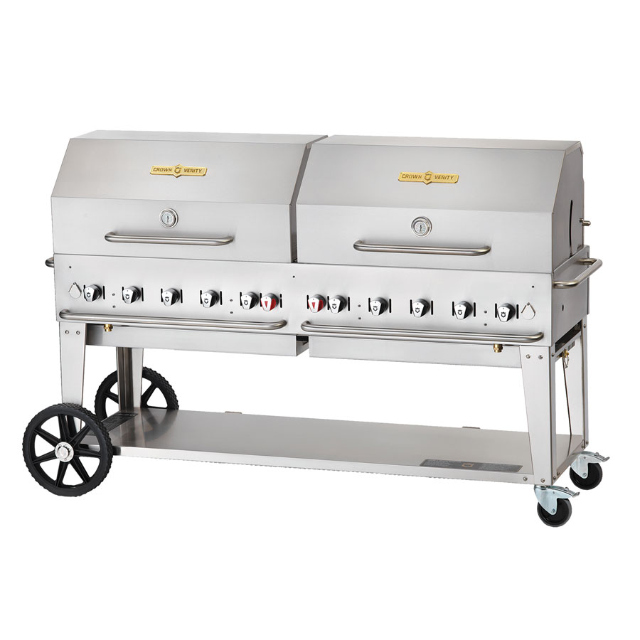 "Crown Verity MCB-72RDP-NG 70"" Mobile Gas Commercial Outdoor Charbroiler w/ Water Pan, NG"
