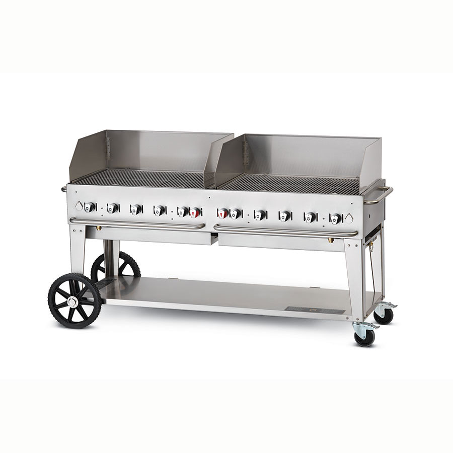 "Crown Verity MCB-72WGP-LP 70"" Mobile Gas Commercial Outdoor Charbroiler w/ Water Pan, LP"