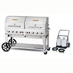 "Crown Verity MCC-60RDP 60"" Mobile Gas Commercial Outdoor Charbroiler w/ Water Pan, LP"