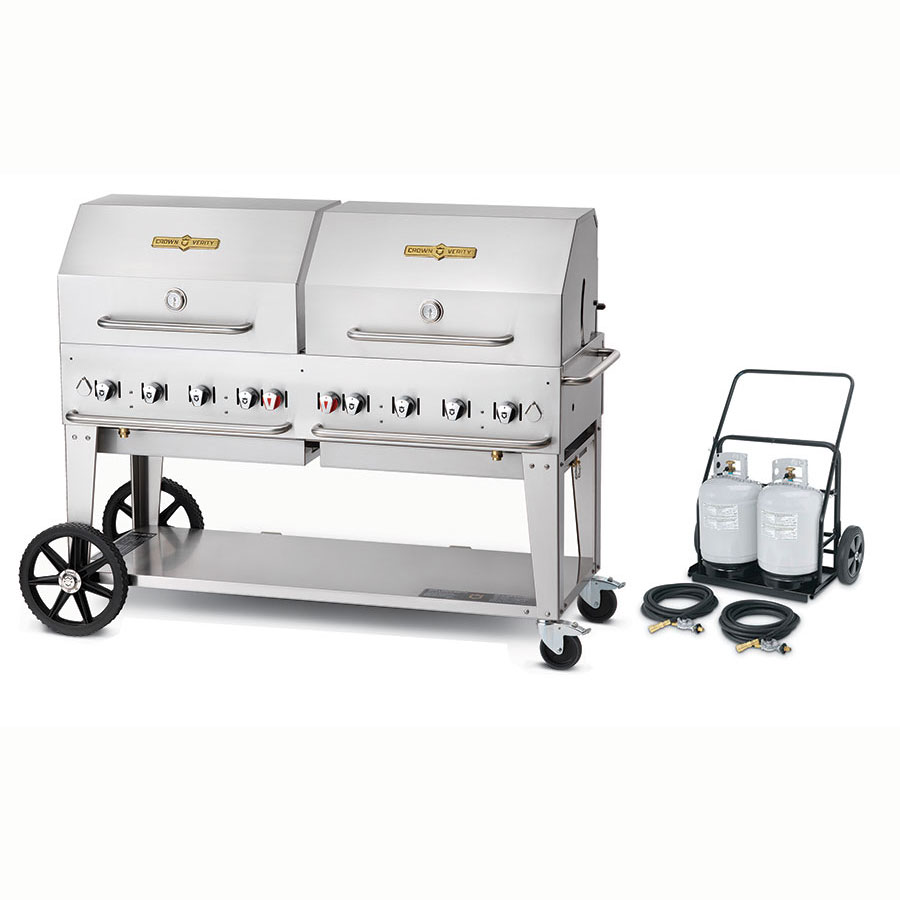 "Crown Verity MCC-60RDP 58"" Outdoor Gas Charbroiler w/ Tank Cart & Roll Dome - (8) Burners, Stainless, LP"