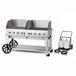 "Crown Verity MCC-60WGP 58"" Mobile Gas Commercial Outdoor Charbroiler w/ Water Pan, LP"