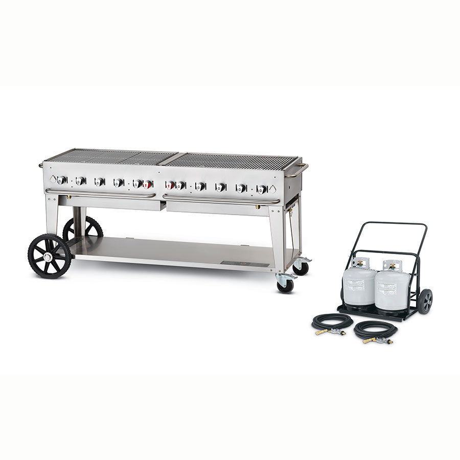 "Crown Verity MCC-72 72"" Mobile Gas Commercial Outdoor Charbroiler w/ Water Pan, LP"