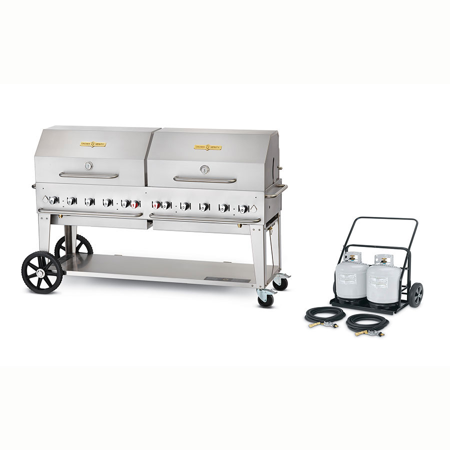 "Crown Verity MCC-72RDP 72"" Mobile Gas Commercial Outdoor Charbroiler w/ Water Pan, LP"