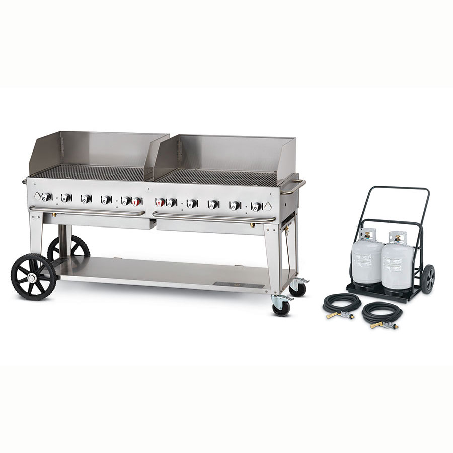 "Crown Verity MCC-72WGP 72"" Mobile Gas Commercial Outdoor Charbroiler w/ Water Pan, LP"