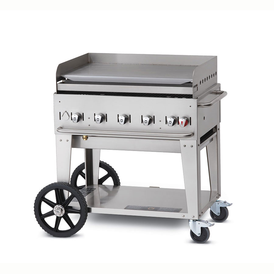 "Crown Verity MG-36NG 34"" Mobile Gas Commercial Outdoor Griddle, NG"
